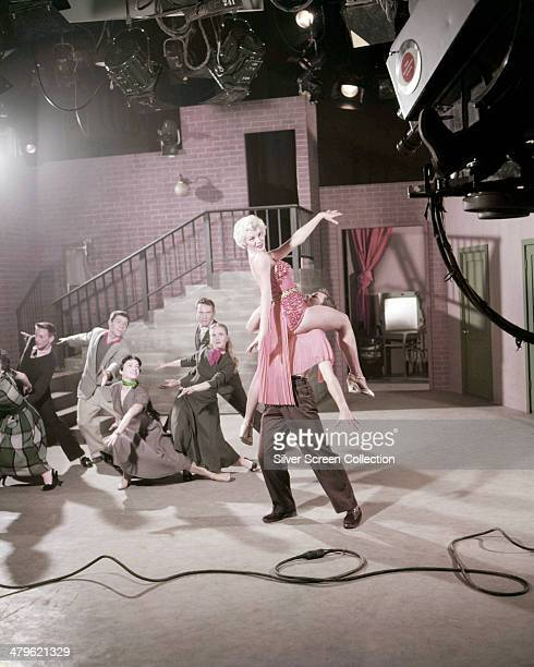 American actress Sheree North performing a dance routine in a CBS TV studio circa 1955