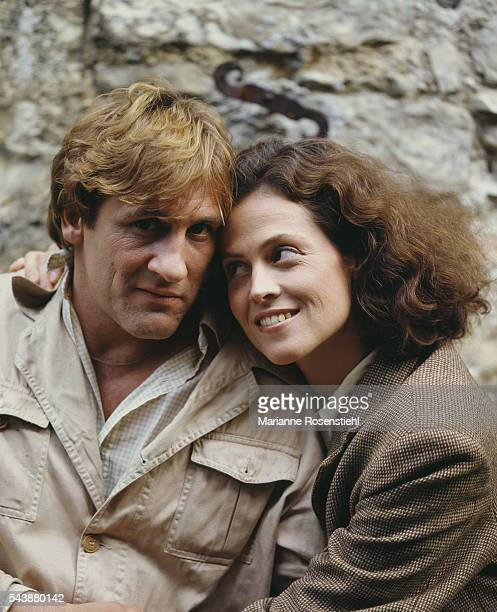 American actress Sigourney Weaver and French actor Gerard Depardieu during the promotion for One Woman or Two by French director Daniel Vigne