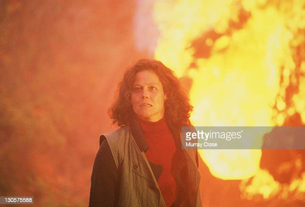American actress Sigourney Weaver as naturalist Dian Fossey in the film 'Gorillas in the Mist' 1988