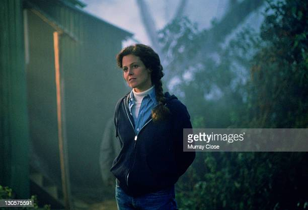 American actress Sigourney Weaver as naturalist Dian Fossey in the film 'Gorillas in the Mist', 1988.