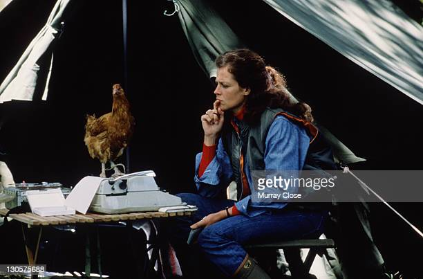American actress Sigourney Weaver as naturalist Dian Fossey in the film 'Gorillas in the Mist', 1988. Here a chicken perches on her typewriter as she...
