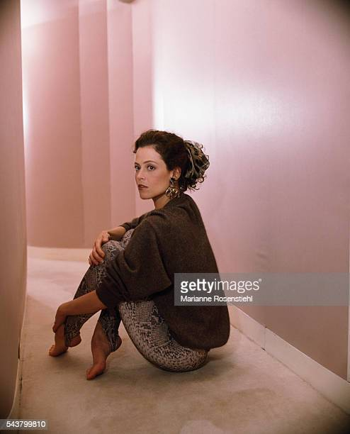 American actress Sigourney Weaver during the promotion for One Woman or Two by the French director Daniel Vigne Also starring in the film is French...