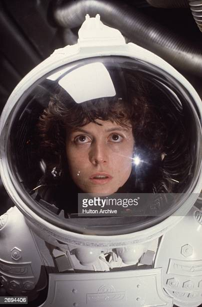 American actress Sigourney Weaver in the role of Ripley in the film 'Alien'