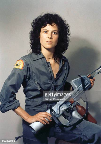 American actress Sigourney Weaver on the set of Alien directed by Ridley Scott
