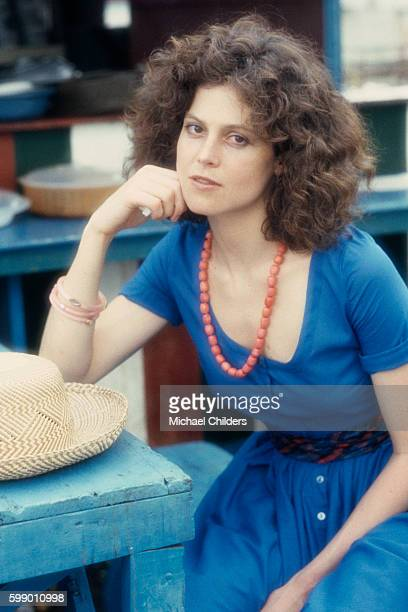 American actress Sigourney Weaver on the set of The Year of Living Dangerously by Australian director screenwriter and producer Peter Weir