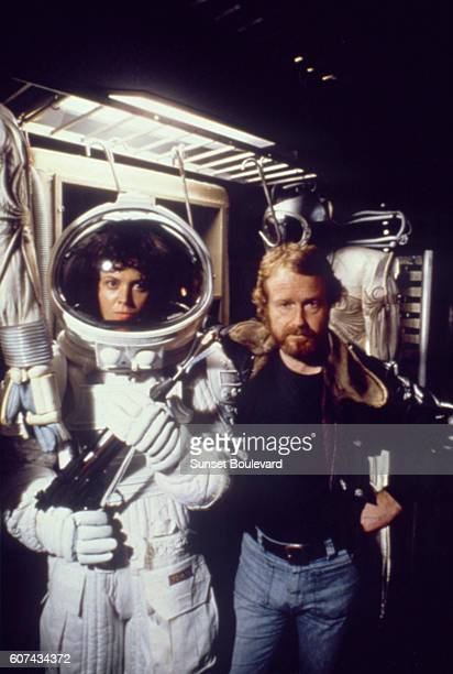 American actress Sigourney Weaver with director Ridley Scott on the set of his movie Alien