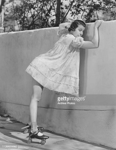 American actress singer and comedian Fanny Brice on roller skates as her character Baby Snooks circa 1945