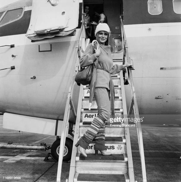 American actress singer and dancer AnnMargret on the steps embarking on an airplane UK 24th September 1976