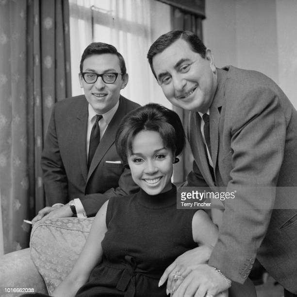 American actress, singer and fashion model Diahann Carroll with English lyricist Don Black and British jazz guitarist and bandleader Vic Lewis , UK,...