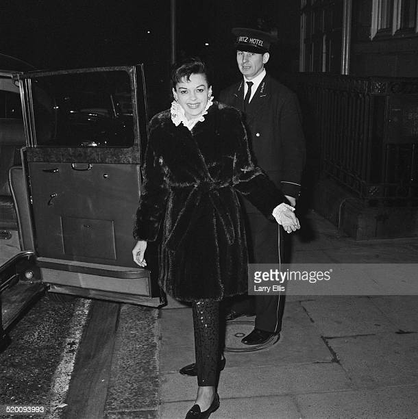 American actress singer and vaudevillian Judy Garland outside the Ritz Hotel London 31st December 1968