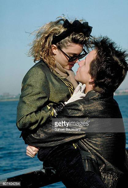 American actress singer songwriter Madonna and actor Robert Joy on the set of Desperately Seeking Susan directed by Susan Seidelman