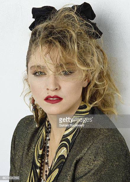 American actress singer songwriter Madonna on the set of Desperately Seeking Susan directed by Susan Seidelman
