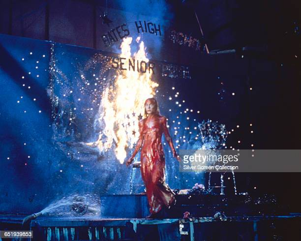American actress Sissy Spacek lays waste to the Bates High School Senior Prom as the telekinetic protagonist of the horror film 'Carrie' 1976