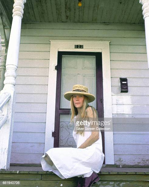American actress Sissy Spacek poses on the porch at 122 N 7th Street Santa Paula California the location of the White Residence in the horror film...