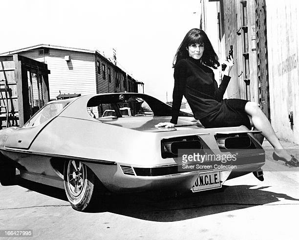American actress Stefanie Powers as April Dancer in the US television series 'The Girl from UNCLE' circa 1967 She is sitting on the specially...