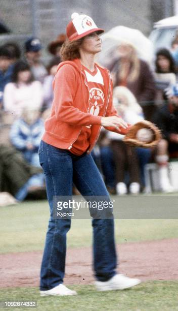 American actress Stefanie Powers plays softball at a charity event in aid of the American Heart Association's National Heart Month Malibu California...