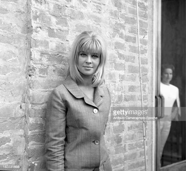American actress Sue Lyon portrayed against a wall Venice 1973