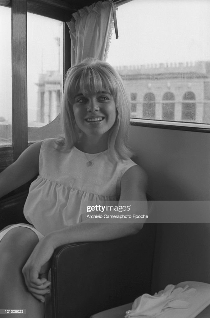 American actress Sue Lyon portrayed in a water taxi, Venice 1962.