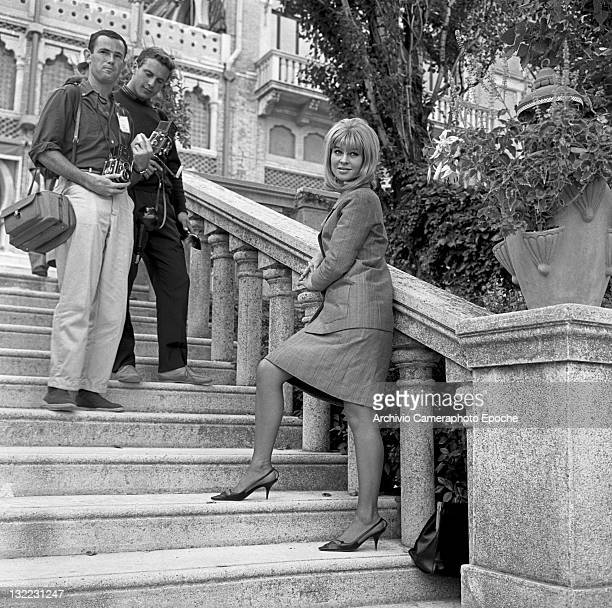 American actress Sue Lyon posing for the photographer on the steps Lido Venice 1973