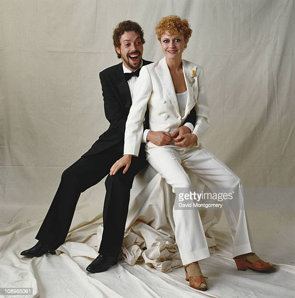 American actress Susan Sarandon with English actor Tim Curry at a performance of 'The Pirates of Penzance' at the Theatre Royal in London July 1982...