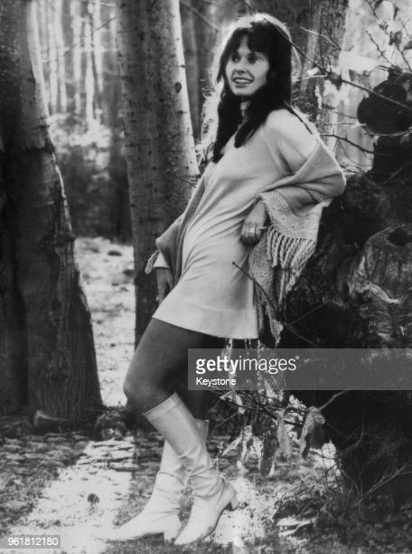 American actress Susan Strasberg during the filming of 'The Sisters' in Rome Italy 4th February 1969 She is posing in a garden which is being used as...