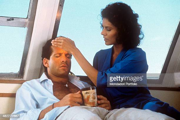 American actress Tahnee Welch curing American actor and director Steve Guttenberg in the film Cocoon The Return 1988