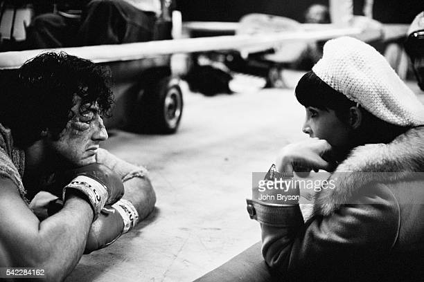 American actress Talia Shire and actor director screenwriter and producer Sylvester Stallone on the set of Stallone's movie Rocky II