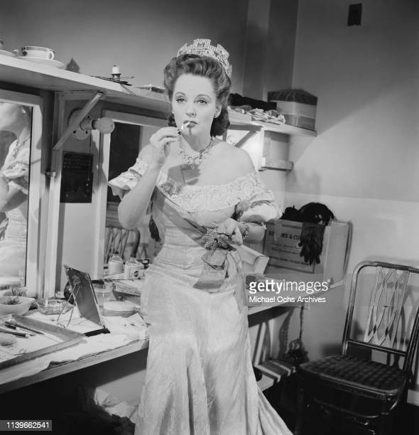 American actress Tallulah Bankhead in costume for her role in the Jean Cocteau play 'The Eagle Has Two Heads' on Broadway New York City 1947