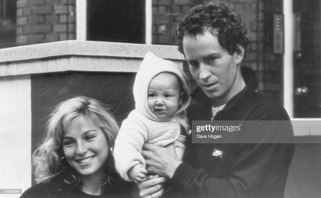 American actress Tatum O'Neal with her husband American Tennis star John McEnroe and their baby son, Kevin, 1985.