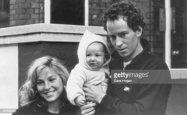 American actress Tatum O'Neal with her husband American Tennis star John McEnroe and their baby son Kevin 1985