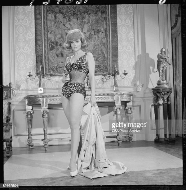 American actress Tina Louise dressed in leopardprint and fishnet swimwear wields a revolver in a scen from an episode of the television comedy...