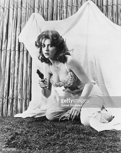 American actress Tina Louise on the movie set of 'Day of the Outlaw' directed by Andre de Toth