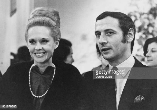 American actress Tippi Hedren and Dior designer Marc Bohan at the Spring 1966 Christian Dior fashion show in London 1st March 1966