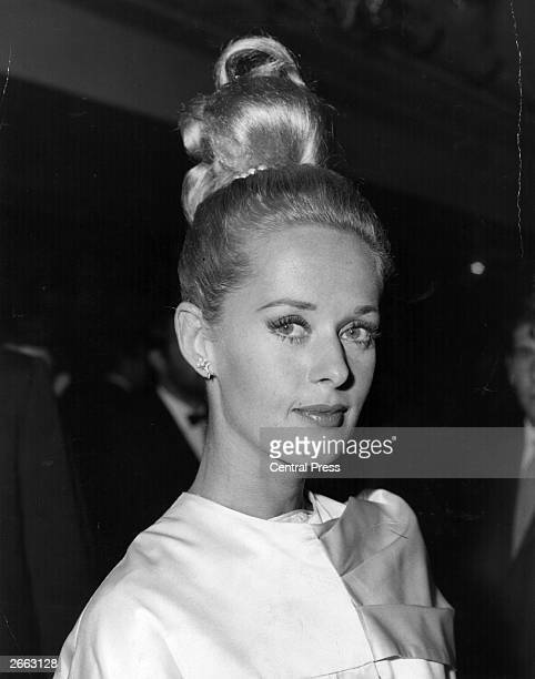 American actress Tippi Hedren at the premiere in London for Alfred Hitchcock's film 'The Birds' in which she stars