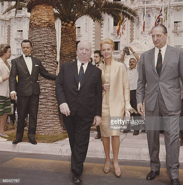 American actress Tippi Hedren pictured with English film director Alfred Hitchcock at the Cannes film festival to promote their film 'The Birds' in...