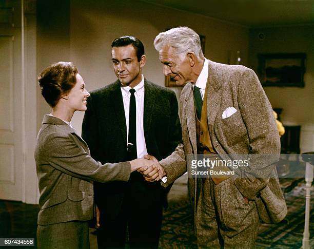 American actress Tippi Hedren Scottish actor Sean Connery and British Alan Napier on the set of Marnie based on the novel by Winston Graham and...