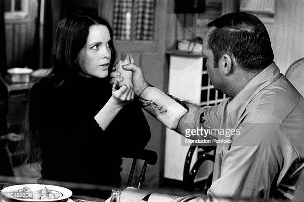 American actress Tisa Farrow sister of American actress Mia Farrow and American actor Aldo Ray acting in the film And Hope to Die Paris 1972