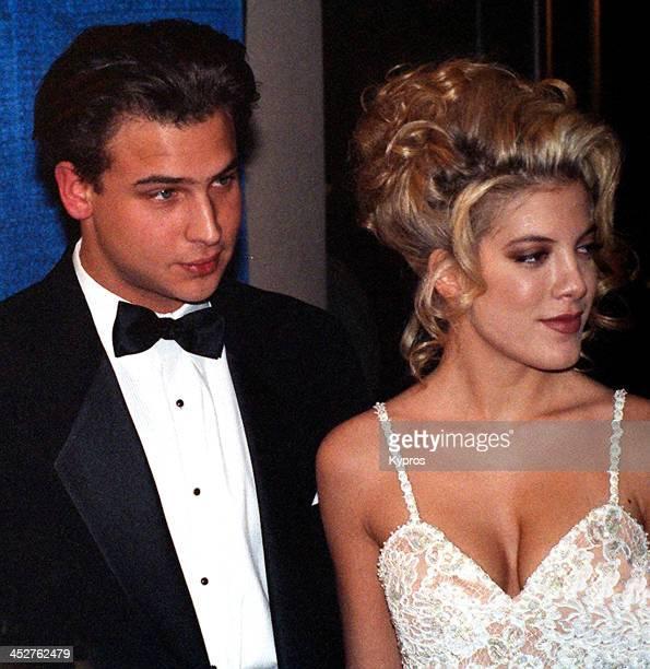 American actress Tori Spelling with Nick Savalas circa 1993