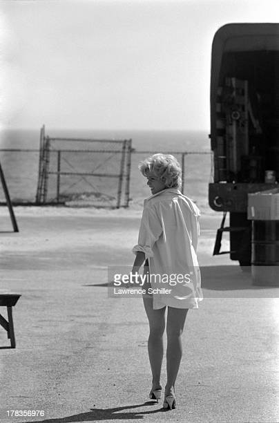 American actress Tuesday Weld walks across a lot during the production of her film 'Soldier in the Rain' Fort Ord California 1963