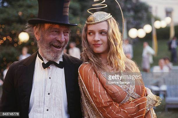 American actress Uma Thurman and Canadian actor Christopher Plummer on the set of the film 'Where the Heart Is', directed by British director John Boorman.