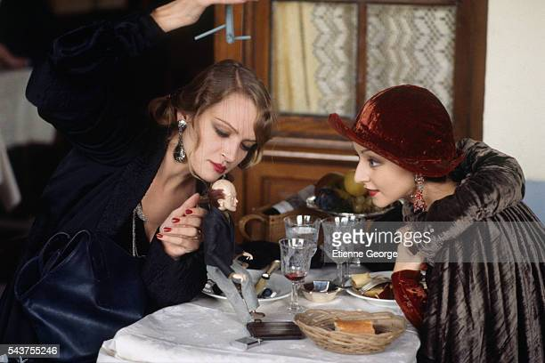 American actress Uma Thurman and Portugese actress Maria de Medeiros on the set of the film 'Henry June' directed by Philip Kaufman and based on...