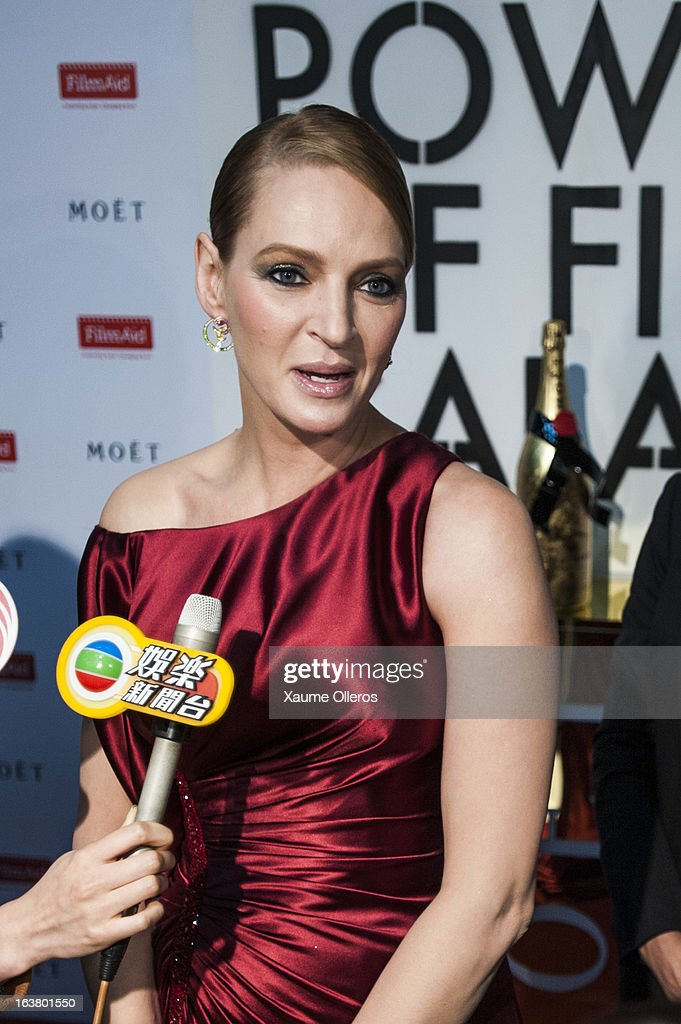 American actress Uma Thurman attends at the Moet & Chandon and FilmAid Asia Power of Film Gala at Clear Water Bay Film Studios on March 16, 2013 in Hong Kong, Hong Kong.
