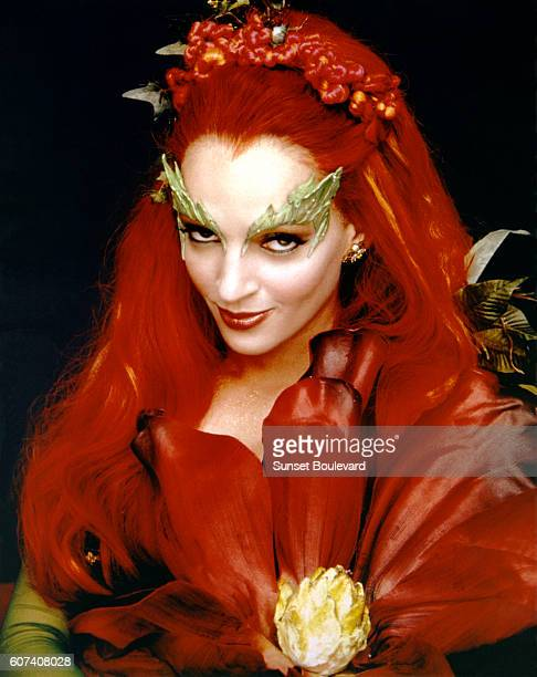 American actress Uma Thurman on the set of Batman & Robin, directed by Joel Schumacher.
