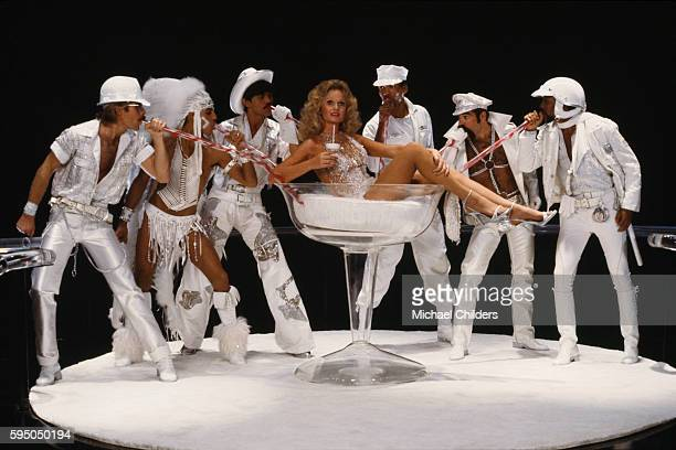 American actress Valerie Perrine surrounded by members of the American disco band Village People David Hodo Felipe Rose Randy Jones Alex Briley Ray...