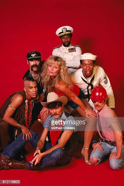 American actress Valerie Perrine with members of the disco band Village People Ray Simpson Glenn Hughes Alex Briley Felipe Rose Randy Jones and David...