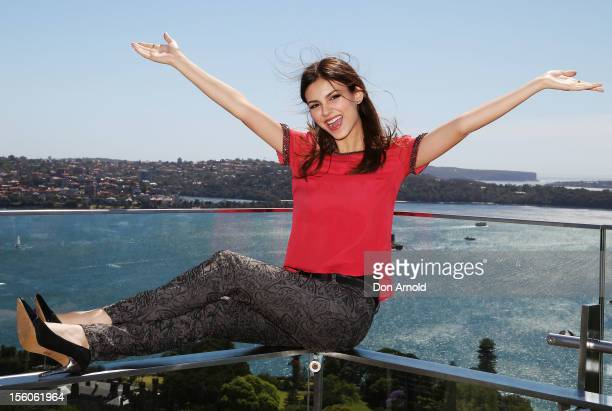 American actress Victoria Justice poses for a photo at the Intercontinental Hotel on November 12 2012 in Sydney Australia