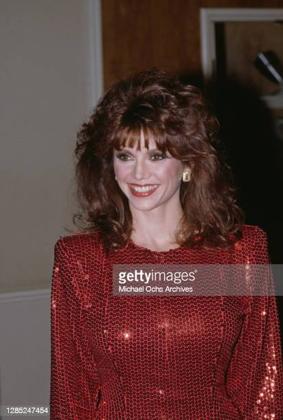 American actress Victoria Principal attends the 40th Annual Golden Globe Awards, held at the Beverly Hilton Hotel in Beverly Hills, California, 29th...