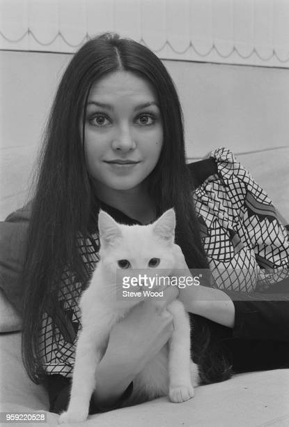 American actress Victoria Principal pictured holding a white cat during a visit to London on 3rd December 1970