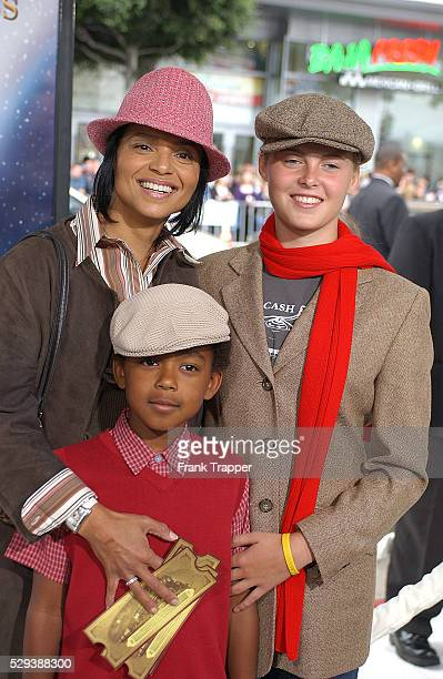 American actress Victoria Rowell with and daughter Maya and her son Jasper arrive at the benefit premiere of the movie The Polar Express directed by...