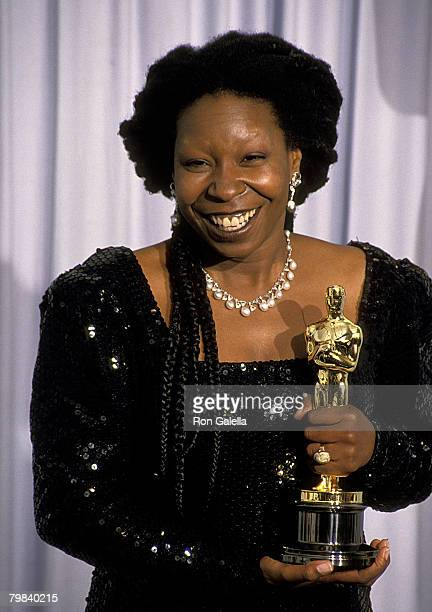 American actress, Whoopi Goldberg, with her Oscar for Best Supporting Actress, at the 63rd Annual Academy Awards at the Shrine Auditorium in Los...
